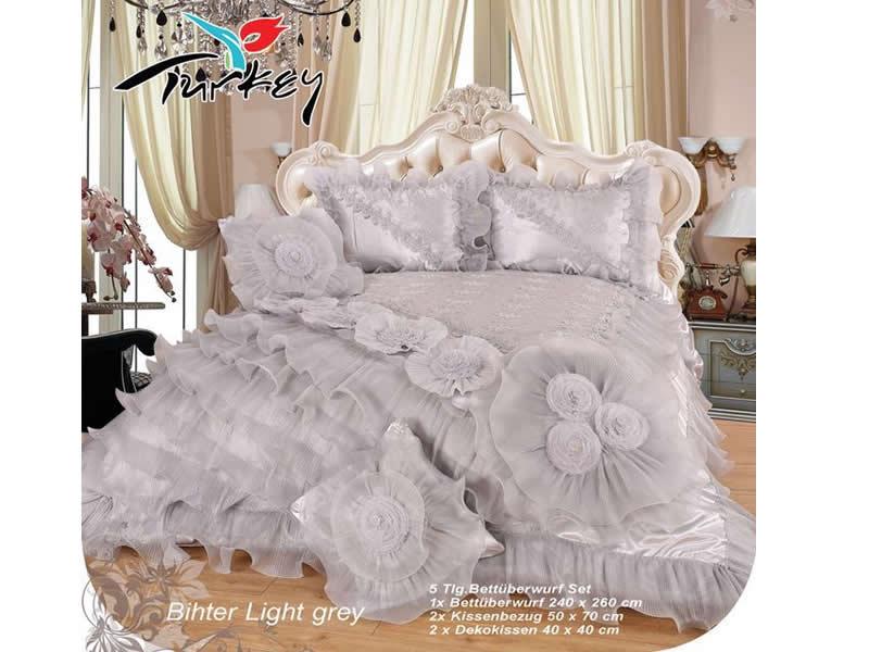 tagesdecke xxl 5 teilig bihter light grey 240x260. Black Bedroom Furniture Sets. Home Design Ideas