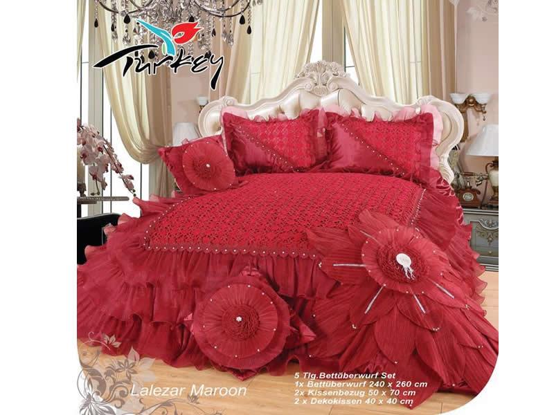 tagesdecke xxl 5 teilig lalezar maroon 240x260 kissenbez ge bett berwurf ebay. Black Bedroom Furniture Sets. Home Design Ideas